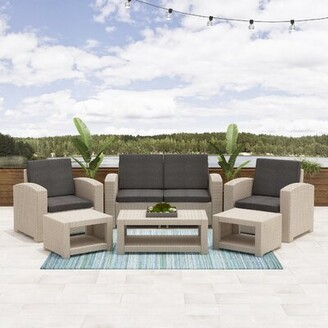 BEIGE Guimond Patio 6 Piece Rattan Sofa Seating Group with Cushions Wrought Studio Frame Color
