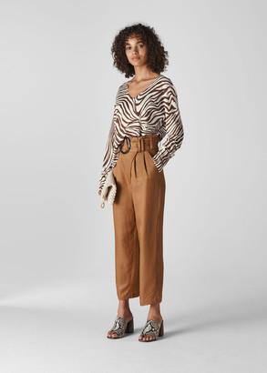 Graphic Zebra Print Linen Knit