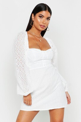 boohoo Petite Broderie Anglaise Button Through Dress