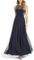 Women's Blondie Nites Beaded Illusion Gown