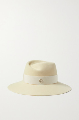 Maison Michel Virginie Grosgrain-trimmed Wool-felt Fedora - Cream