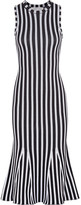 Victoria Beckham Fluted Ribbed Striped Cotton-blend Dress - Midnight blue
