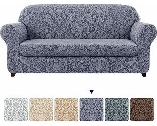 Overstock Subrtex 2-Piece Stretch Sofa Couch Cover Jacquard Damask Slipcover