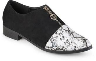 Brinley Co. Women's Zipper Snake Print Faux Suede Loafers