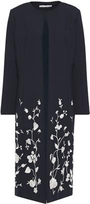 Oscar de la Renta Embroidered Wool-blend Coat