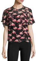 RED Valentino Flamingo-Print Silk Crepon Popover Blouse, Black