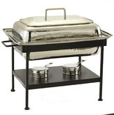 Old Dutch Rectangular Polished Nickel over Stainless Steel Chafing Dish 8 Qt