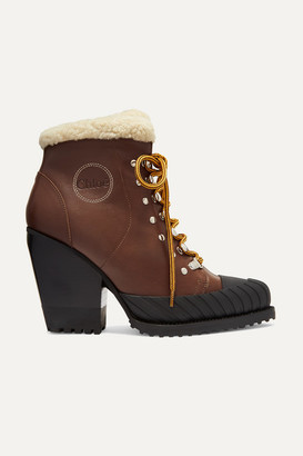 Chloé Rylee Shearling-trimmed Leather And Rubber Ankle Boots - Brown