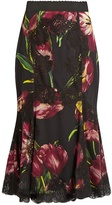 Dolce & Gabbana Tulip-print lace-panelled silk-blend skirt