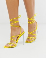 Simmi Shoes Simmi London Hailey yellow patent tie up sandals