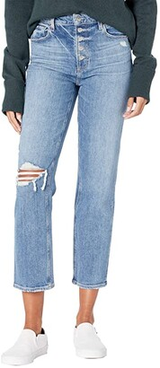 Paige Sarah Straight Ankle w/ Exposed Button Fly in Corrine Destructed (Corrine Destructed) Women's Jeans