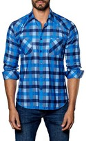 Jared Lang Men's Trim Fit Check Sport Shirt