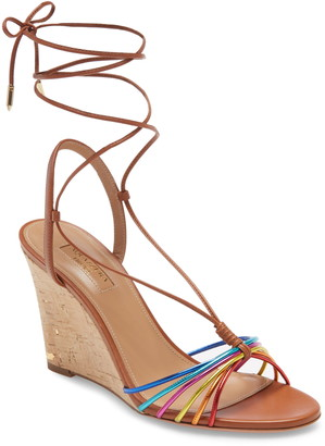 Aquazzura Whisper Rainbow Ankle Tie Wedge Sandal