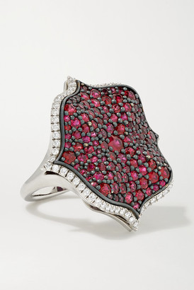Bayco Platinum Diamond And Ruby Ring - Red