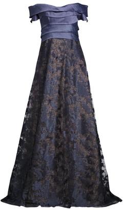 Rene Ruiz Collection Metallic Off-The-Shoulder Gown