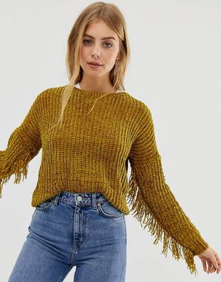 Raga Nicki fringed knit jumper-Yellow