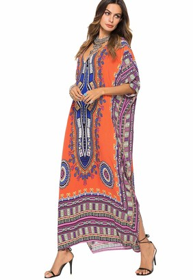 Happy Cherry Womens Beach Dress V-Neck Loose Ankle Length Cover Ups Ladies Orange Printed Kaftan Long Full Length Swimsuit Plus Size Short Sleeve for Summer Holiday One Size