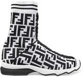 Fendi Logo-jacquard Stretch-knit And Mesh Sneakers - White