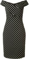 Nicole Miller off-shoulder polka dot dress - women - Nylon/Polyester/Metallic Fibre - 4