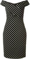 Nicole Miller off-shoulder polka dot dress