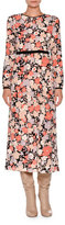 Agnona Long-Sleeve Floral-Print Midi Dress, Coral Floral