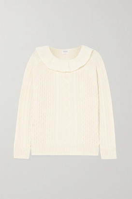 Madeleine Thompson Rourke Ruffled Cable-knit Cashmere Sweater - Cream