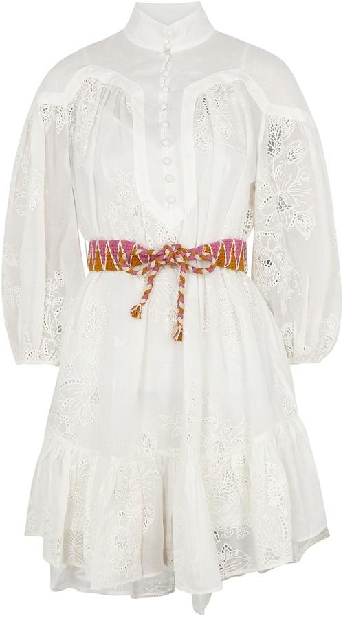 Zimmermann Riders ivory embroidered ramie mini dress