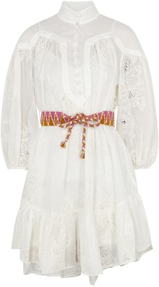 Zimmermann Riders ivory embroidered ramie mini dress