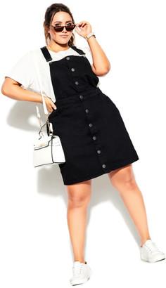 City Chic Charm Pinafore Dress - black