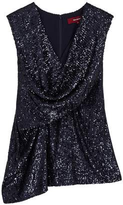 Sies Marjan Neela Navy Wrap-effect Sequin Top
