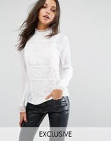 Missguided Lace Detail Long Sleeve Blouse