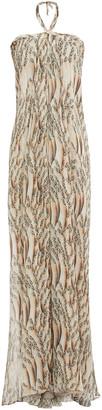 Adriana Degreas Plated Printed Silk-voile Halterneck Maxi Dress