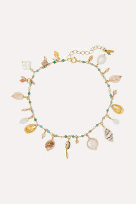 Chan Luu Gold-plated, Shell And Multi-stone Anklet - Turquoise
