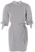 Topshop Stripe Poplin High Neck Shirt Dress