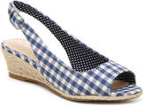 Kelly & Katie Women's Tamy Wedge Sandal -Navy Checkered Fabric
