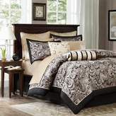 Bed Bath & Beyond Madison Park Aubrey 12-Piece Reversible California King Comforter Set in Black/Silver