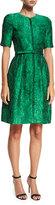 Oscar de la Renta Short-Sleeve Zip-Front Jacquard Dress