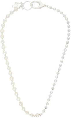Hatton Labs Silver and Pearl 50/50 Chain Necklace