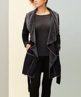 Paparazzi Black Faux Fur-Detail Tie-Waist Coat