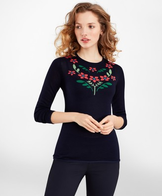 Brooks Brothers Floral Silk-Cashmere Sweater