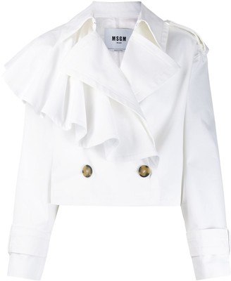 MSGM Ruffled Cropped Double-Breasted Trench
