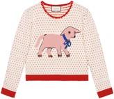 Gucci Heart wool sweater with lamb intarsia