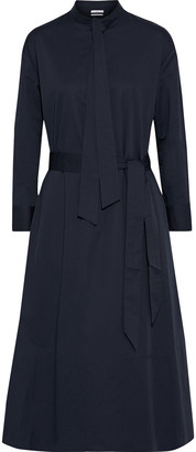 Co Tie-neck Belted Cotton-poplin Midi Dress