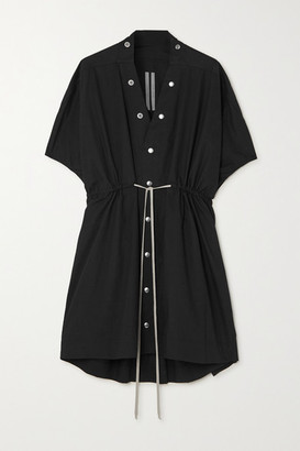 Rick Owens Sail Tie-detailed Cotton-poplin Mini Dress - Black