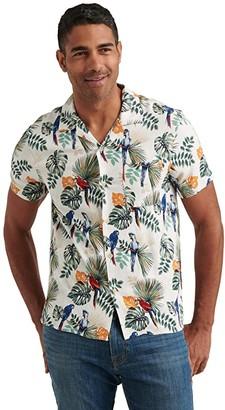 Lucky Brand Floral Print Club Collar Short Sleeve Shirt (White Print) Men's Clothing