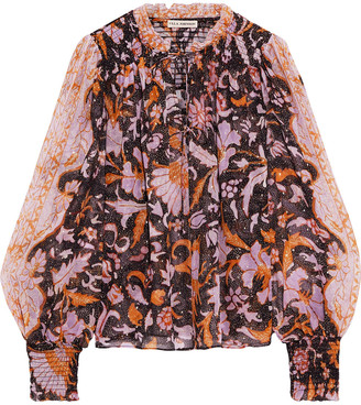 Ulla Johnson Anita Printed Fil Coupe Silk And Lurex-blend Blouse