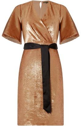 Biba Sequin Wrap Dress Rose Gold 8