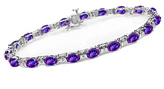 Zales Oval Birthstone and Diamond Accent Collar Bracelet in Sterling Silver (1 Stone)