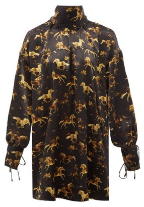 Ganni High-neck Horse-print Silk-satin Mini Dress - Black Print