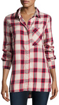 Velvet Heart Seraphina Plaid-Print Blouse, Ivory/Red/Navy